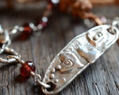 Delta Lady - Love is the Answer - Artisan Oxidized Sterling Silver Heart Bracelet with Wire Wrapped Garnets - Valentine's Day Gift
