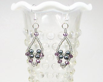 Bead Woven Earrings, Crystal and Seed Bead Earrings, Dangle Earrings,