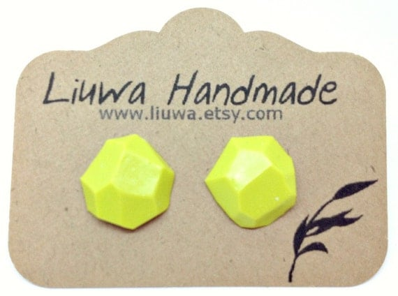 Post Earrings, Energy Green Faceted Clay Earrings, Stainless Surgical Steel Posts