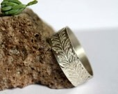 Honeysuckle, Botanic silver ring, custom order, personalized ring, leaves pattern,