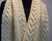 Hand knit bulky winter scarf