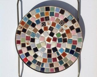 Vintage Trivet small tiles multiple colors