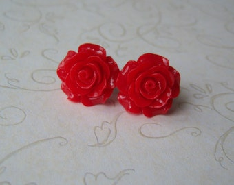 Large Red Rose Earrings