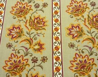 """Typical flora l- Beige stripes portuguese fabric - """"Chita Portuguesa""""1m x 1,60 m (39,37x63 inch)"""