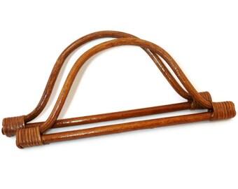 1 pair of wood bag handles 10inchesX4.5inch brown (26cmx12cm) A25