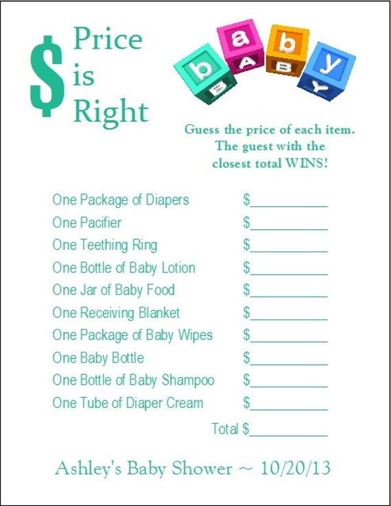 24 personalized price is right baby shower game for Free printable price is right baby shower game template