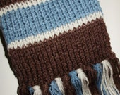 "Doctor Watson Hand Knit Scarf Inspired by ""Sherlock Holmes A Game of Shadows"" by Ashlee's Knits Chocolate, Linen, Dusty Blue 100% Acrylic"