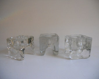3 Finland Glass Napkin Candle Holders - by designer Juhava OY Helsinki