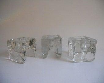 3 Finland Glass Napkin Candle Holders - by designer Juhava OY Helsinki