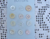 12 Vintage Antique White Cream Peach Coral Pink Buttons