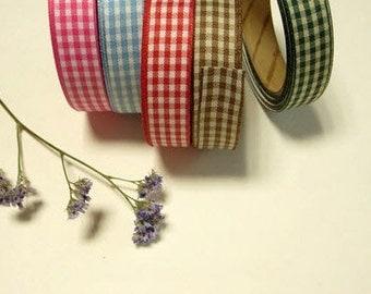 Adhesive Deco Check color pattern ribbon tape by J&Bobbin