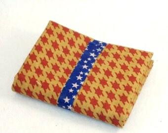 Fat Quarter Denim Weight Stamped Design Cotton Blend - Red Crossed Squares on Tan Background - DESTASH