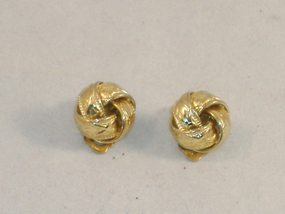 Vintage Gold Plated Cluster Ribbon Earrings - Clip-On - Sweet Estate Share