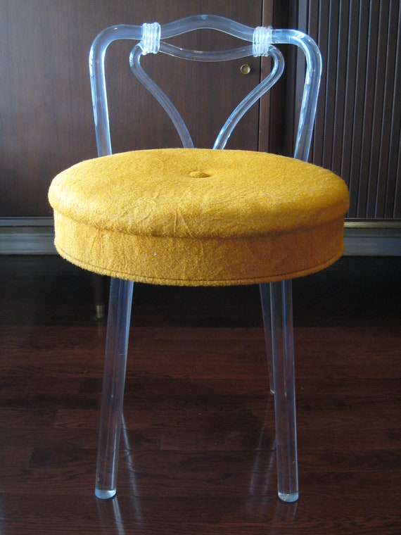 Reserved 1950s lucite swivel boudoir vanity chair stool - Acrylic vanity chair ...
