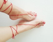 Red & Gold Oriental barefoot sandals - Feet Accesories - Summer - Footwear - nude shoes sandles - foot jewelry, yoga, beach