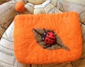 Adorable Handmade Felted Wool Ladybug Coin Purse