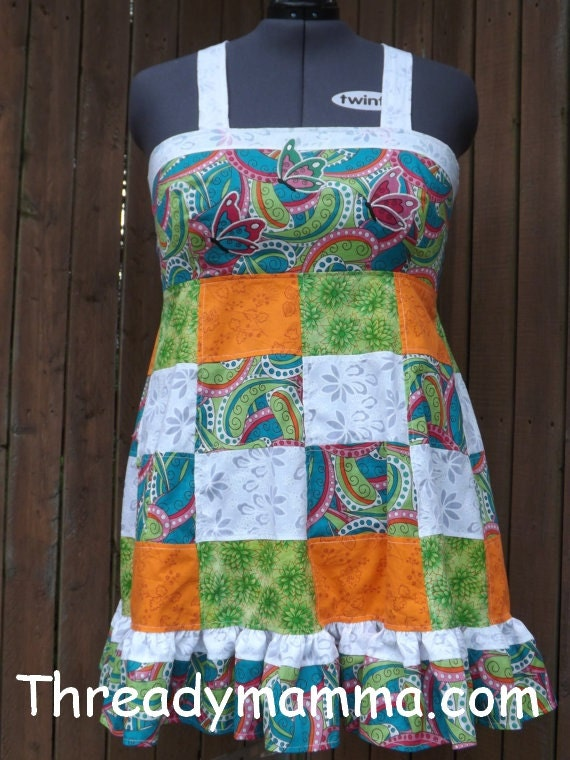Larger sized Funky Patchwork Apron Top
