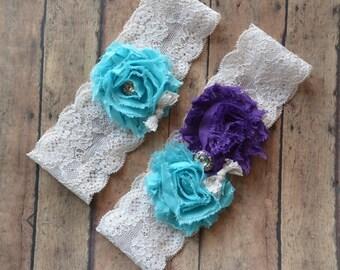 Wedding Garter, purple turquoise wedding Bridal garter, lace garters.... garter.... purple garter.. turquoise garter.. plus size garters