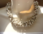 Swarovski Platinum Pearl & Swarovski Silver Crystal Cluster Necklace