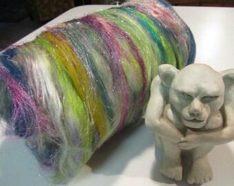 MARCH MADNESS, art batt for spinning, 4.0 oz, spinning fiber, art batt, fiber art batt, felting fiber, bling batt, roving, carded batt