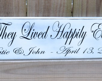 And They Lived Happily Ever After, Personalized Wedding Gift, Engagement Gift, Anniversary Gift, Important Date Custom Wood Sign
