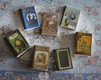 Dollhouse Miniature set of 7 classic books with illustrated covers