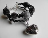 Dark carved heart leather bayberry charm bracelet