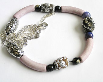 Kashmiri Beads, Pastel Pink Ceramic Beads, Faceted Blue Haze Fire Agate & Black Agate Necklace