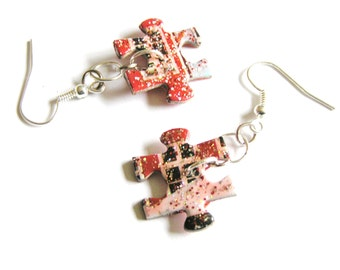 Upcycled Puzzle Piece Earrings- White, Red, Black with Red & Silver Sparkly Finish