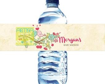 Spring Love Birds Water Bottle label  - Love Birds Water Label - Water Bottle label love birds - water bottle label spring love birds