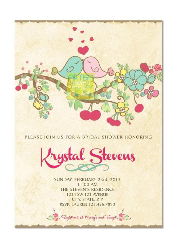 Love Birds Bridal Shower Invitation - Spring Love Birds Bridal Shower ...