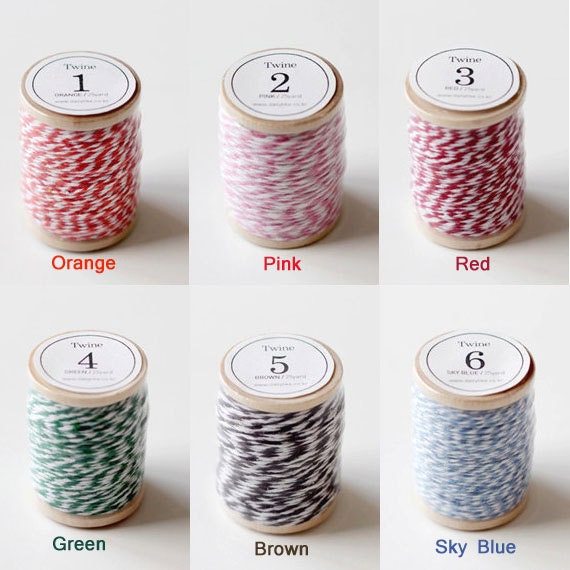25 Yards Striped Twine String (Please select a color)