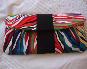 Rainbow Zebra Clutch-Designer Purse-Alexander Henry