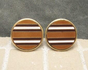 Large Striped Enamel Cufflinks Browns Vintage H433