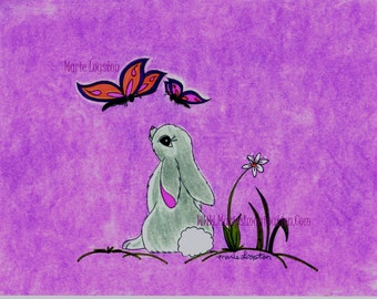 Bunny/Butterflies (Purple Bkgd) Greeting cards - Note Cards. Includes White Envelopes. Blank Inside.