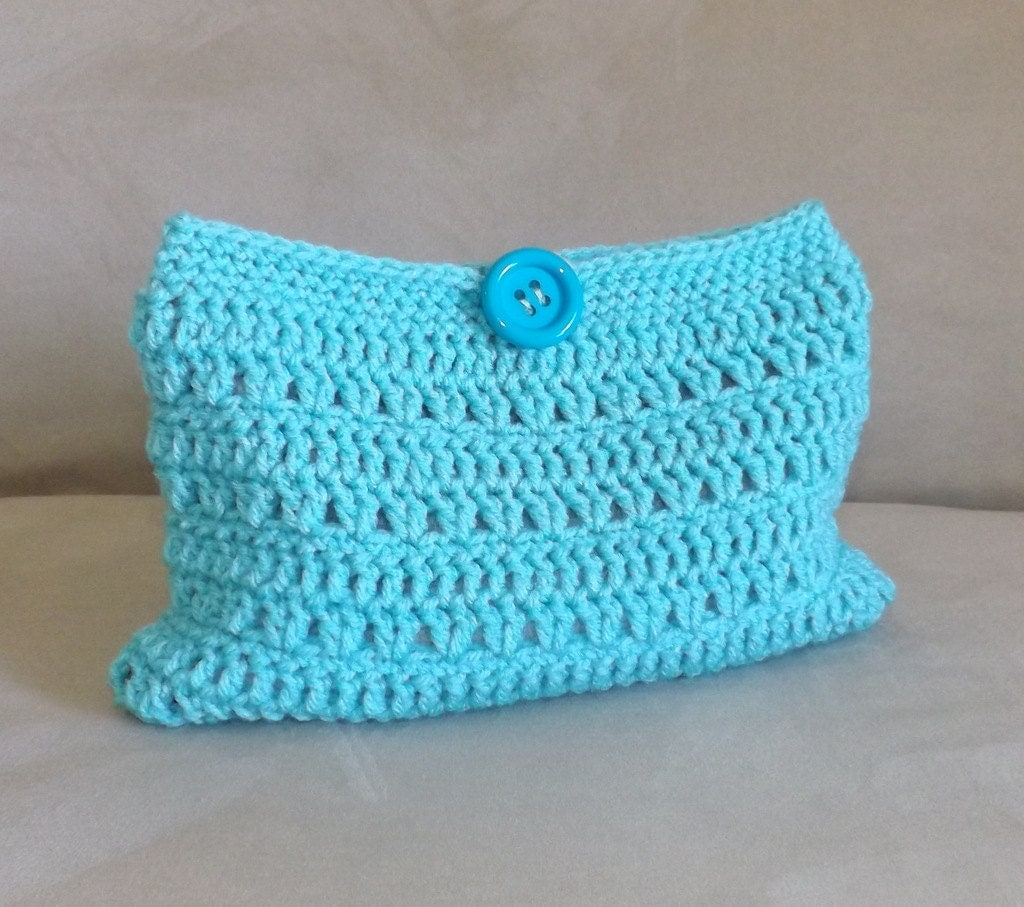 Crochet turquoise make up bag crochet cosmetic bag by Avaneska