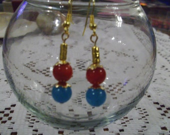 Turquoise and Red Earrings   FREE SHIPPING
