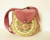 "Medieval Boho Victorian Small Bag Purse ""Glenys"" Brocade Velvet Marie Antoinette Edwardian Fairy Vintage Flower Bag Romantic Nostalgic Pink"