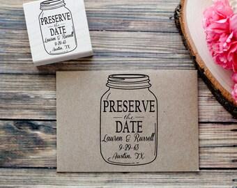 Custom Mason Jar- Preserve the Date Wedding Invitation Envelope Rubber Stamp