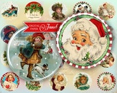 Happy Christmas - circles image - digital collage sheet - 1 x 1 inch - Printable Download