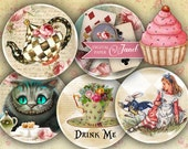 Alice in Wonderland - 2.5 inch circles - set of 12 - digital collage sheet - pocket mirrors, tags, scrapbooking, cupcake toppers