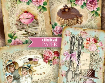 Sweet Dessert - digital collage sheet - set of 8 - Printable Download
