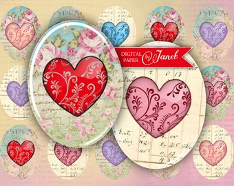Hearts - oval image - 30 x 40 mm or 18 x 25 mm - digital collage sheet  - Printable Download