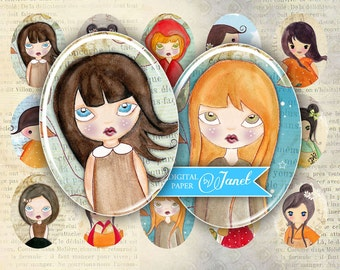 My Girls - oval image - 30 x 40 mm or 18 x 25 mm - digital collage sheet  - Printable Download