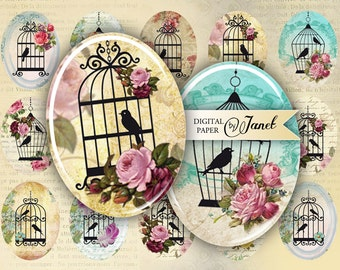 Sweet Song - oval image - 30 x 40 mm or 18 x 25 mm - digital collage sheet  - Printable Download