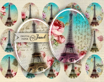 Paris and Roses - oval image - 30 x 40 mm - digital collage sheet  - Printable Download