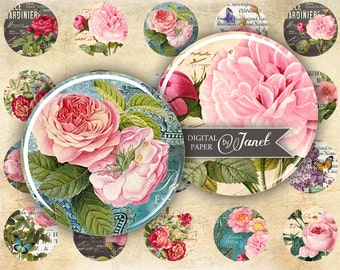 Bouquet of roses - circles image - digital collage sheet - 1 x 1 inch - Printable Download