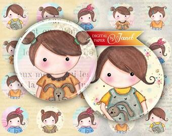Matilda and Rabbit - circles image - digital collage sheet - 1 x 1 inch - Printable Download