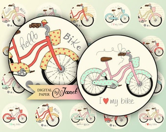 Hello BiKe - circles image - digital collage sheet - 1 x 1 inch - Printable Download