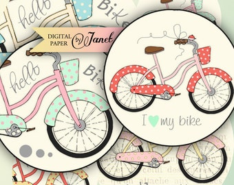 Hello BiKe - 2.5 inch - circles - digital collage sheet - pocket mirrors, tags, scrapbooking, cupcake toppers